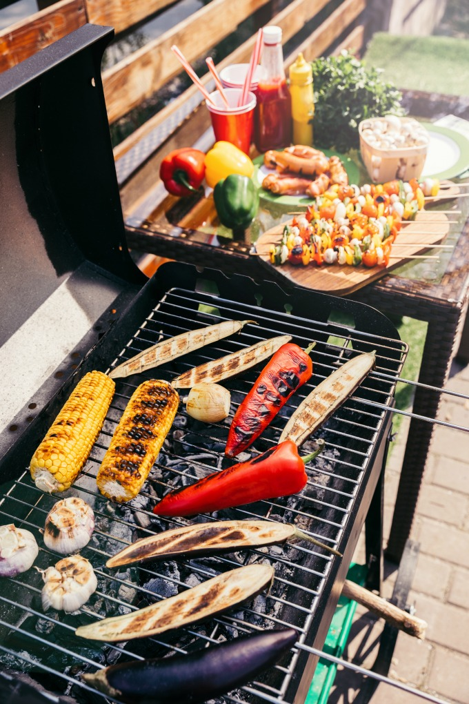Vegetable cooking on a grill