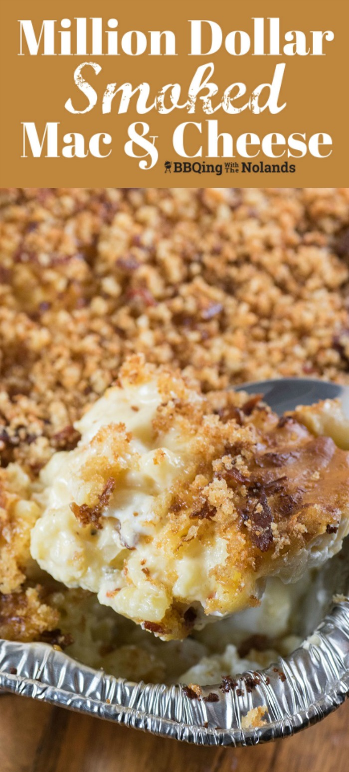 Million Dollar Smoked Mac and Cheese is the epitome of comfort food. The smoky flavor enhances the cheesy gooey goodness. #macandcheese #smoked #mac&cheese