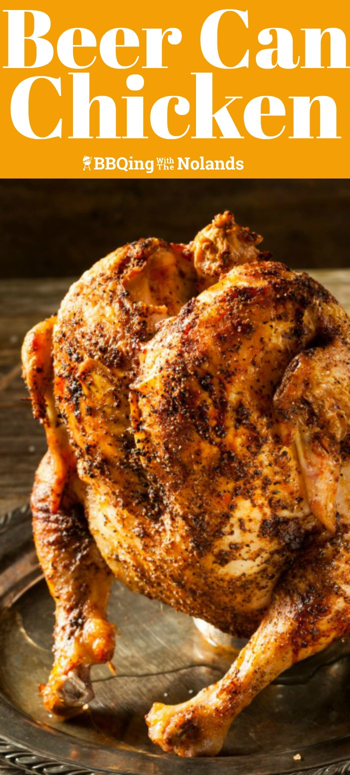 This Beer Can Chicken is so juicy and tender, it can be enjoyed year round on your BBQ #BeerCan #BBQChicken #Chicken