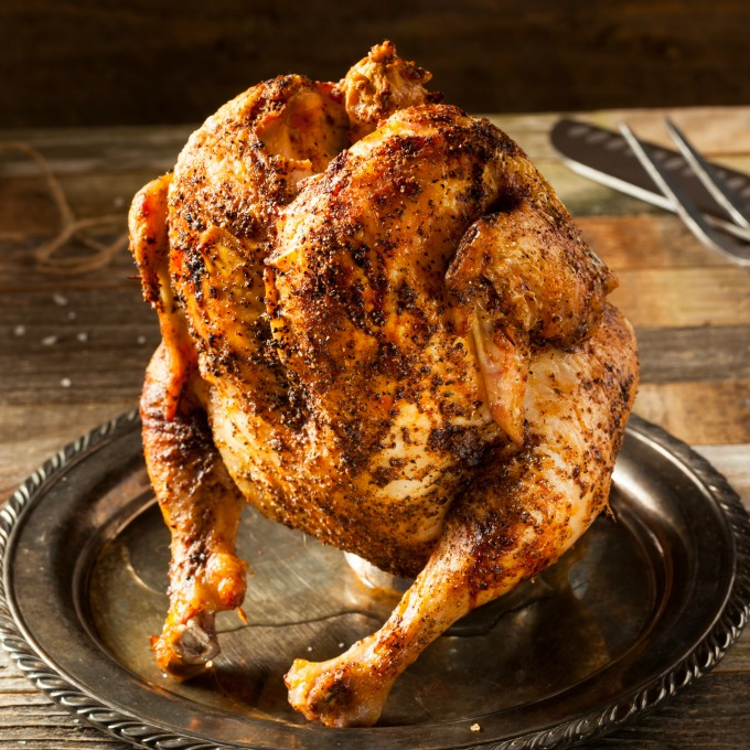 BBQ Whole Chicken standing on a beer can