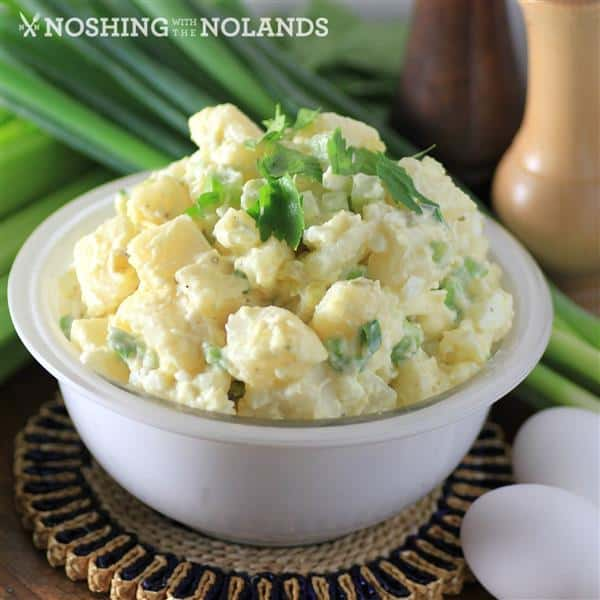 Creamy Potato Salad in a small white bowl