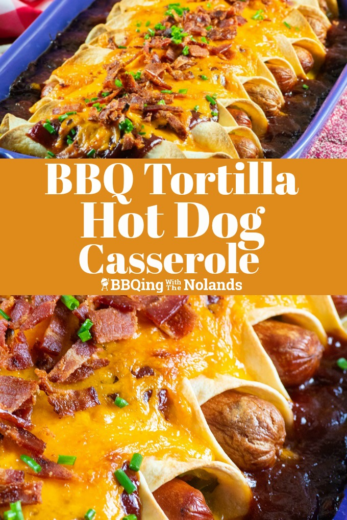 This BBQ Tortilla Hot Dog Casserole is one for the masses, everyone if going to want a taste of this fantastic dish! #BBQ #hotdog #grilled #casserole #cheesy #bacon
