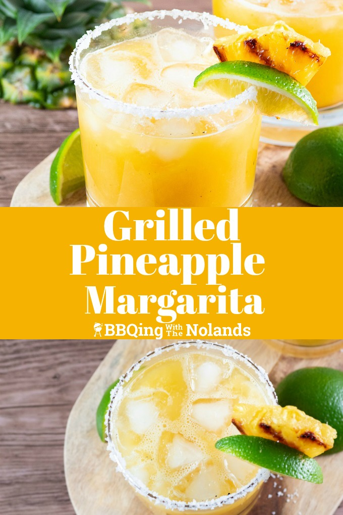 This grilled pineapple margarita is so refreshing, the sweet pineapple, and lime and just a hint of flavor from the grilled pineapple #margarita #grilled #grilledpineapple #lime #saltedrim #grilledpineapplemargarita