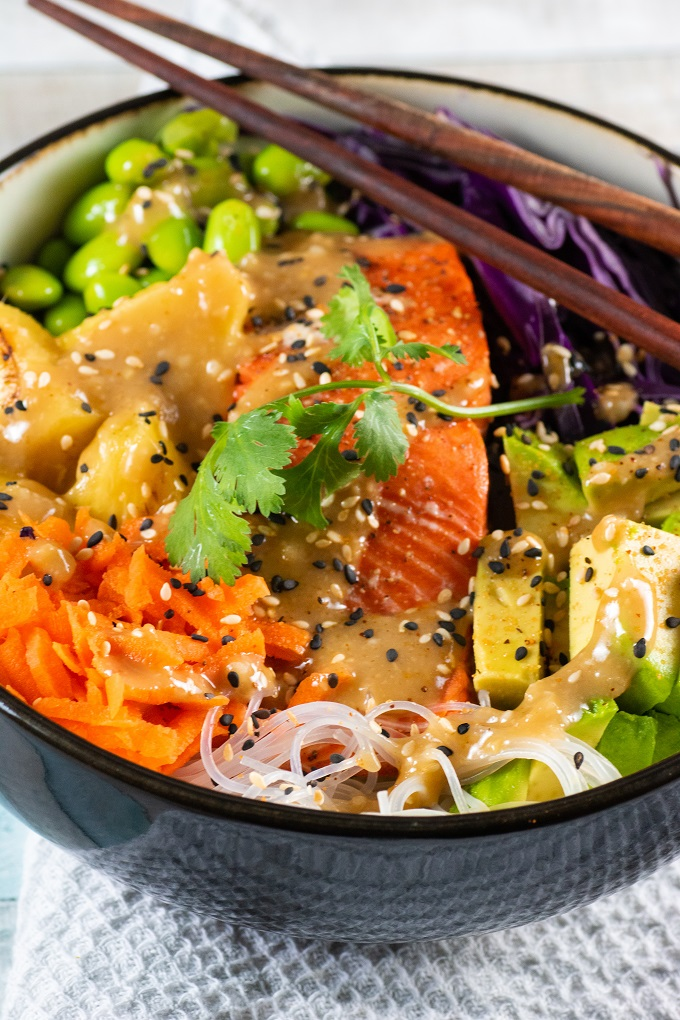 Grilled Salmon Bowl With Miso-Ginger Dressing