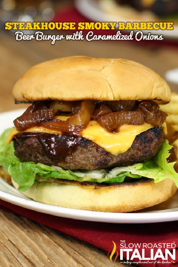 BBQ cheeseburger with caramelized onions on a white plate