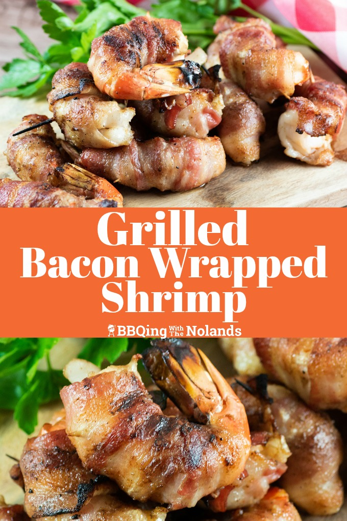 Grilled Bacon Wrapped Shrimp an easy way to serve up something delicious. The best part is it looks really fancy; but its' easy! #shrimp #bacon # bacon wrapped shrimp #old bay #grilling