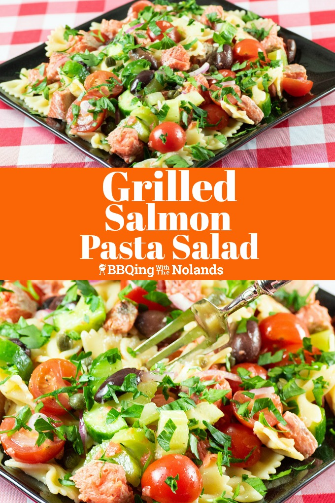 Grilled Salmon Pasta Salad is a healthy blend of salmon, pasta and veggies in a light oil and vinegar dressing #GrilledSalmon, #Salmon, #Veggies #Pastasalad