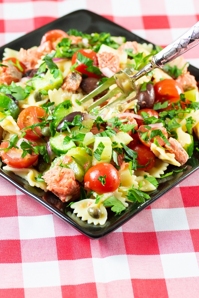 Grilled Salmon Pasta Salad Bbqing With The Nolands
