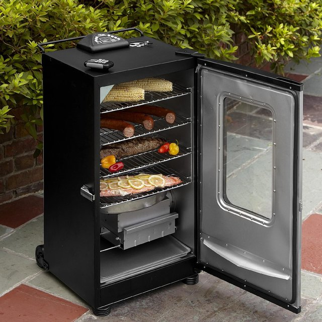 Masterbuilt electric smoker with the door open