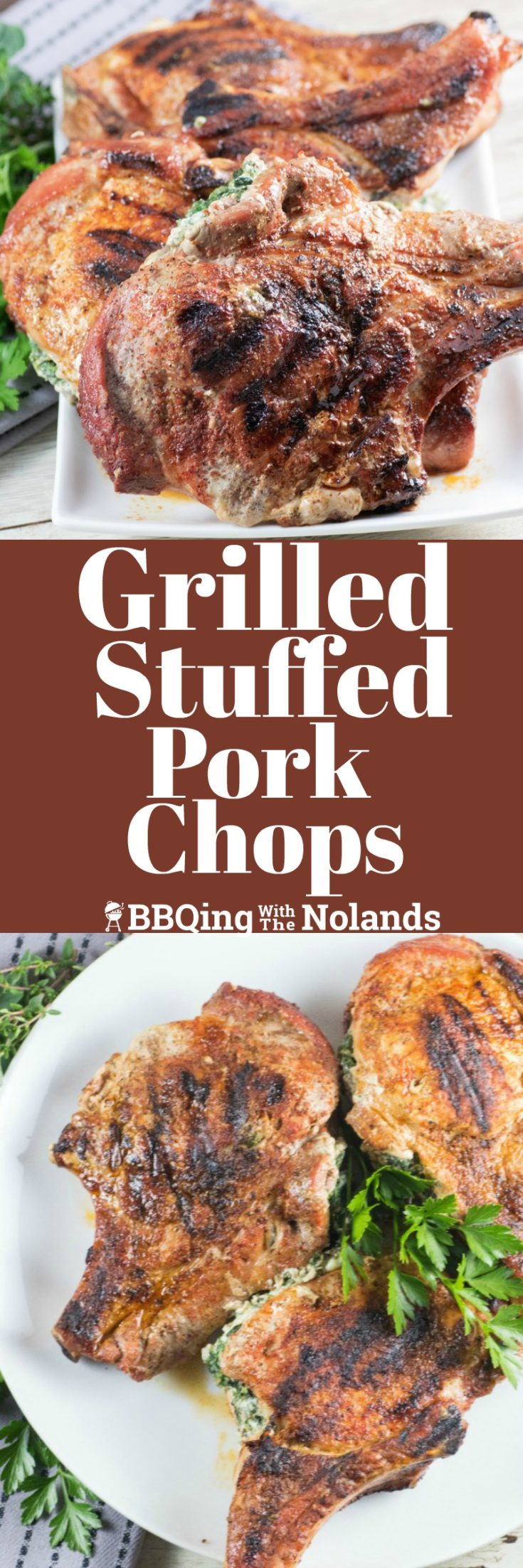 Grilled Stuffed Pork Chops cooked on a griddle or grill are so easy to make you're going to wonder why you don't make them all the time!