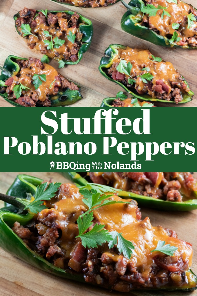 Stuffed Poblano Peppers on the grill are super easy! Oh, and did I mention really, really tasty! #Stuffedpeppers #poblanopeppers #stuffedpoblanopeppers #grilledstuffedpeppers