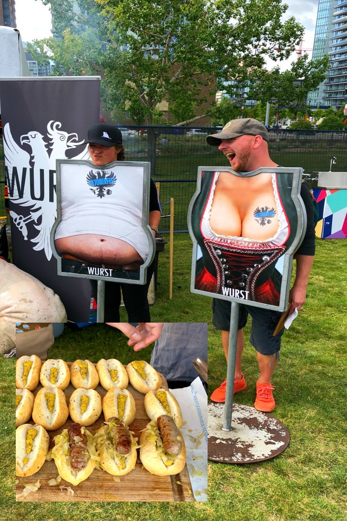 Funny stands for men and women and German sausage served on buns