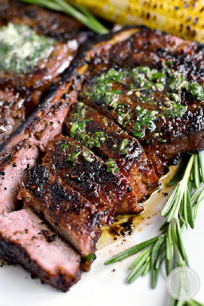 Grilled steak sliced with herb butter