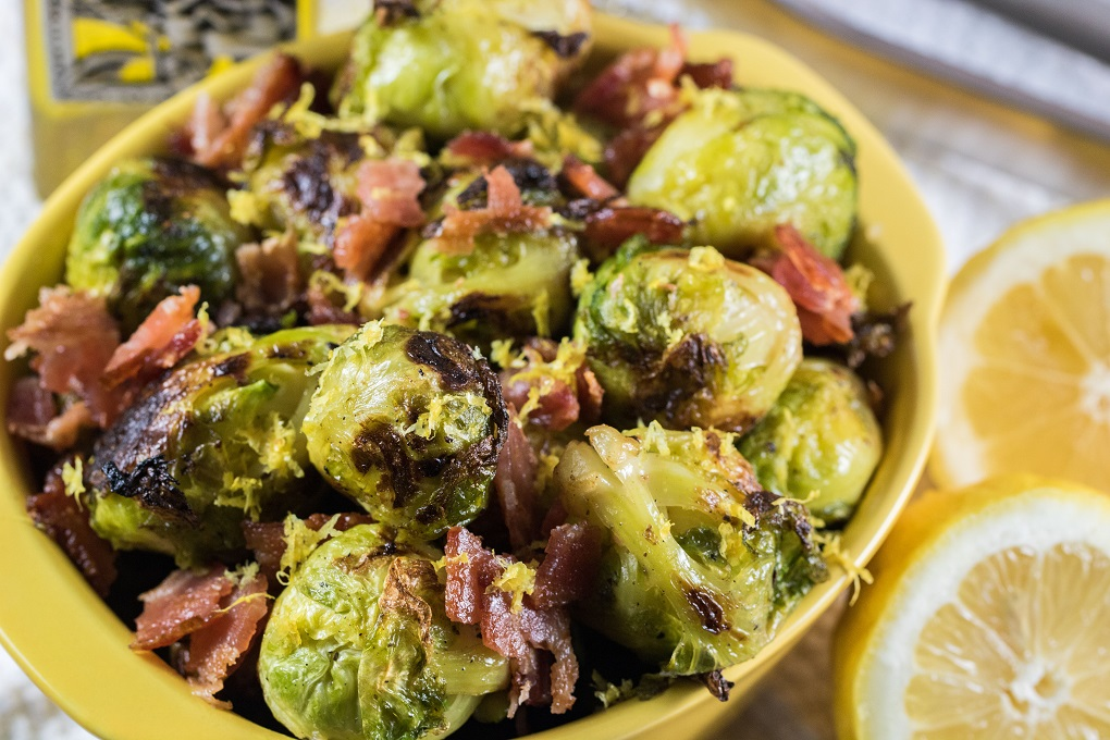 Close up of Grilled Brussels sprouts