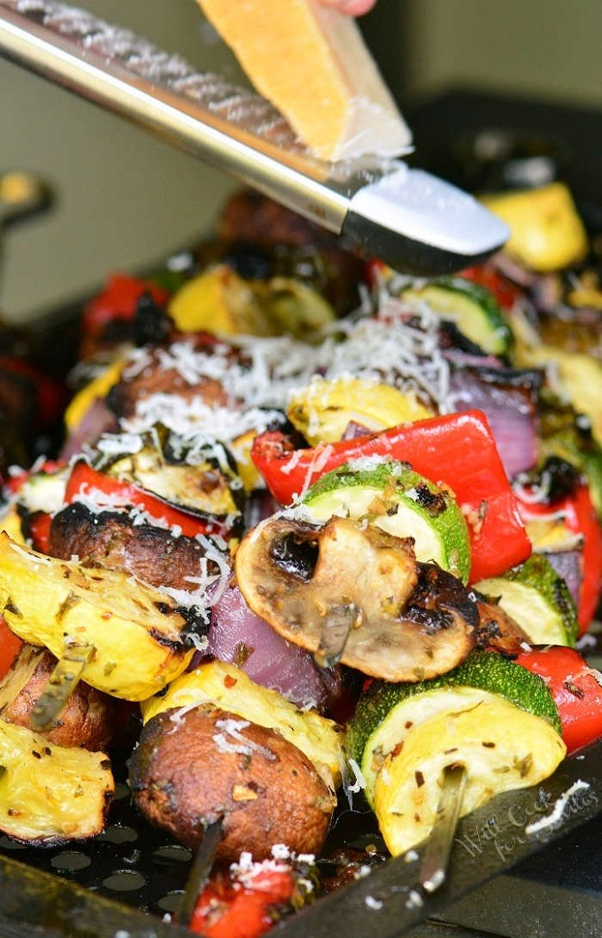 Grilled vegetables with grated parmesan cheese on top