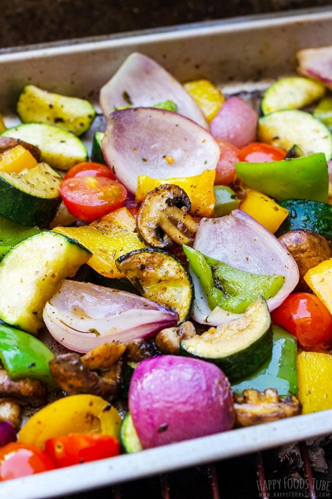 Grilled vegetables in a metel tray