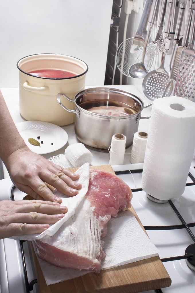 preparing a pork roast for brining