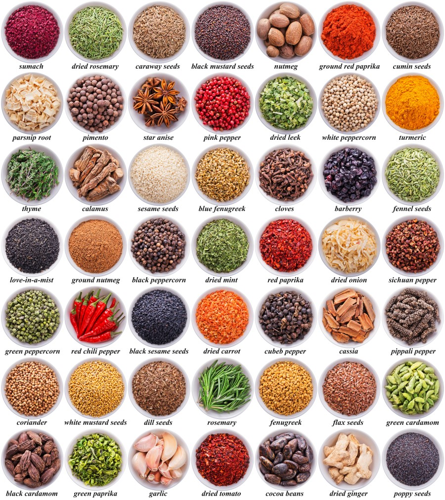 49 bowls of various herbs and spices