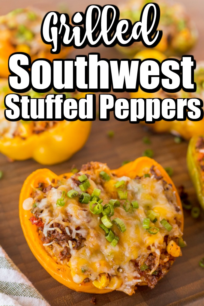 Grilled southwest stuffed peppers are perfect for any bbq gathering #grilledpeppers #southwestgrilledpeppers #stuffedpeppers