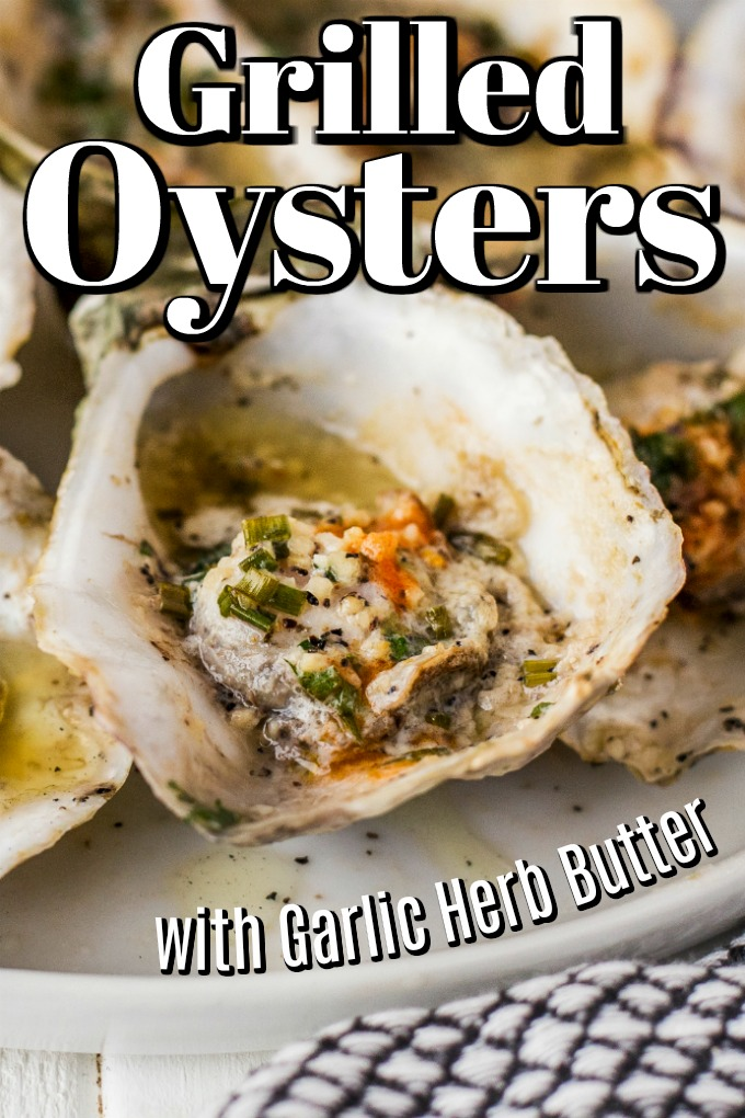 Grilled oyster on the half shell with garlic, butter chives and hot sauce
