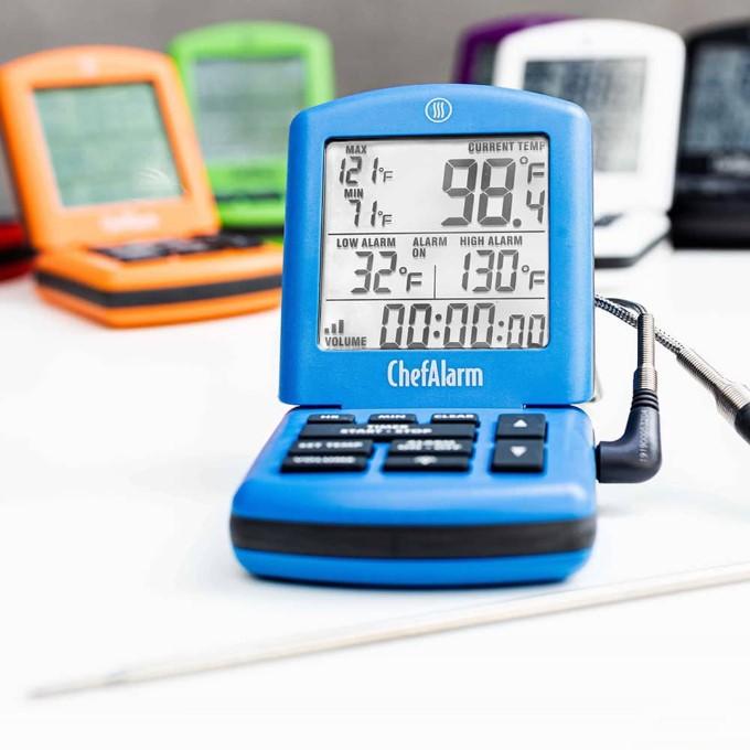 Thermoworks Chef Alarm constant read internal temperature unit in blue.