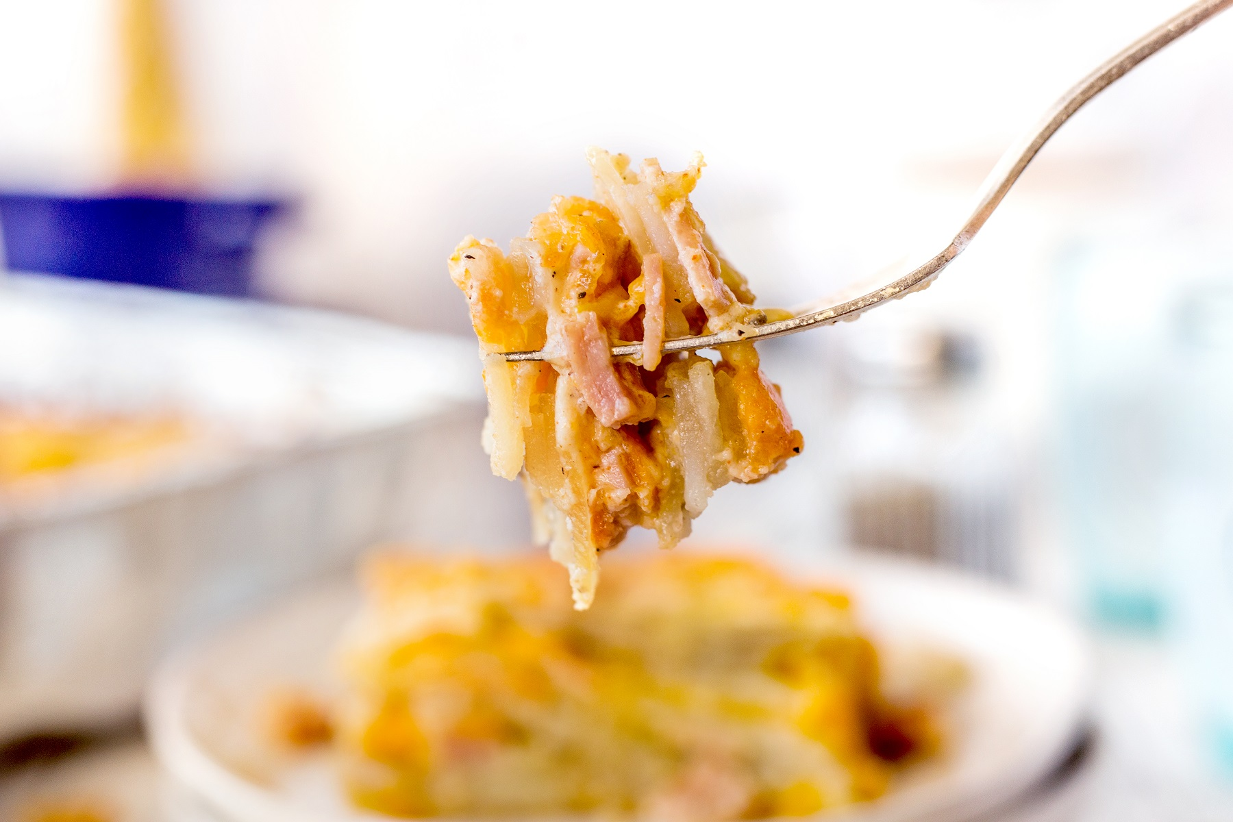 A bite of smoked scalloped potatoes on a fork