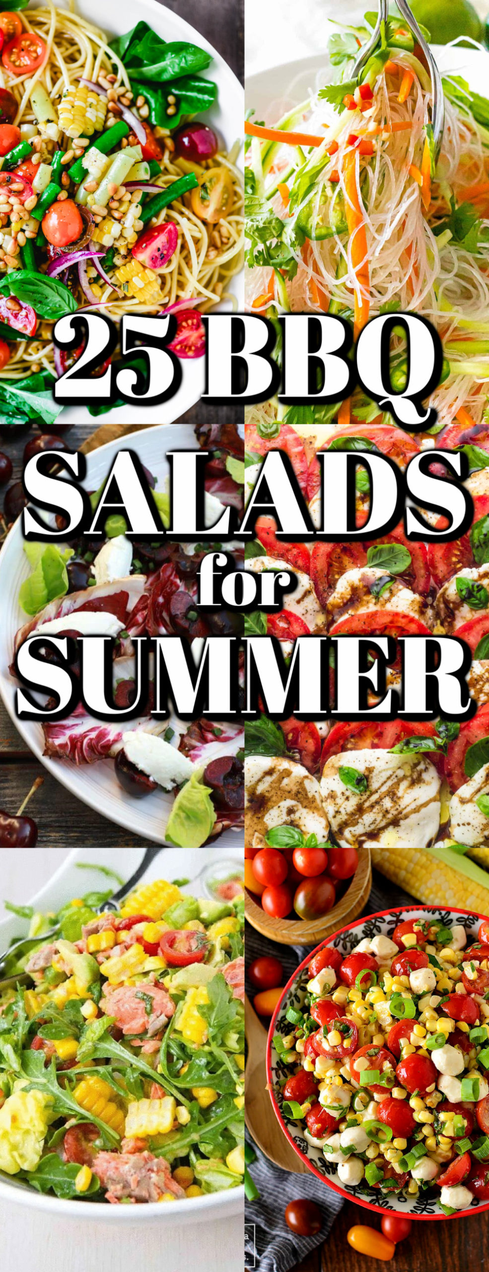 These 25 BBQ Salads for Summer recipes are perfect for any summer gather, picnic or party. There are some healthy choices, but they are all fantastic dishes!