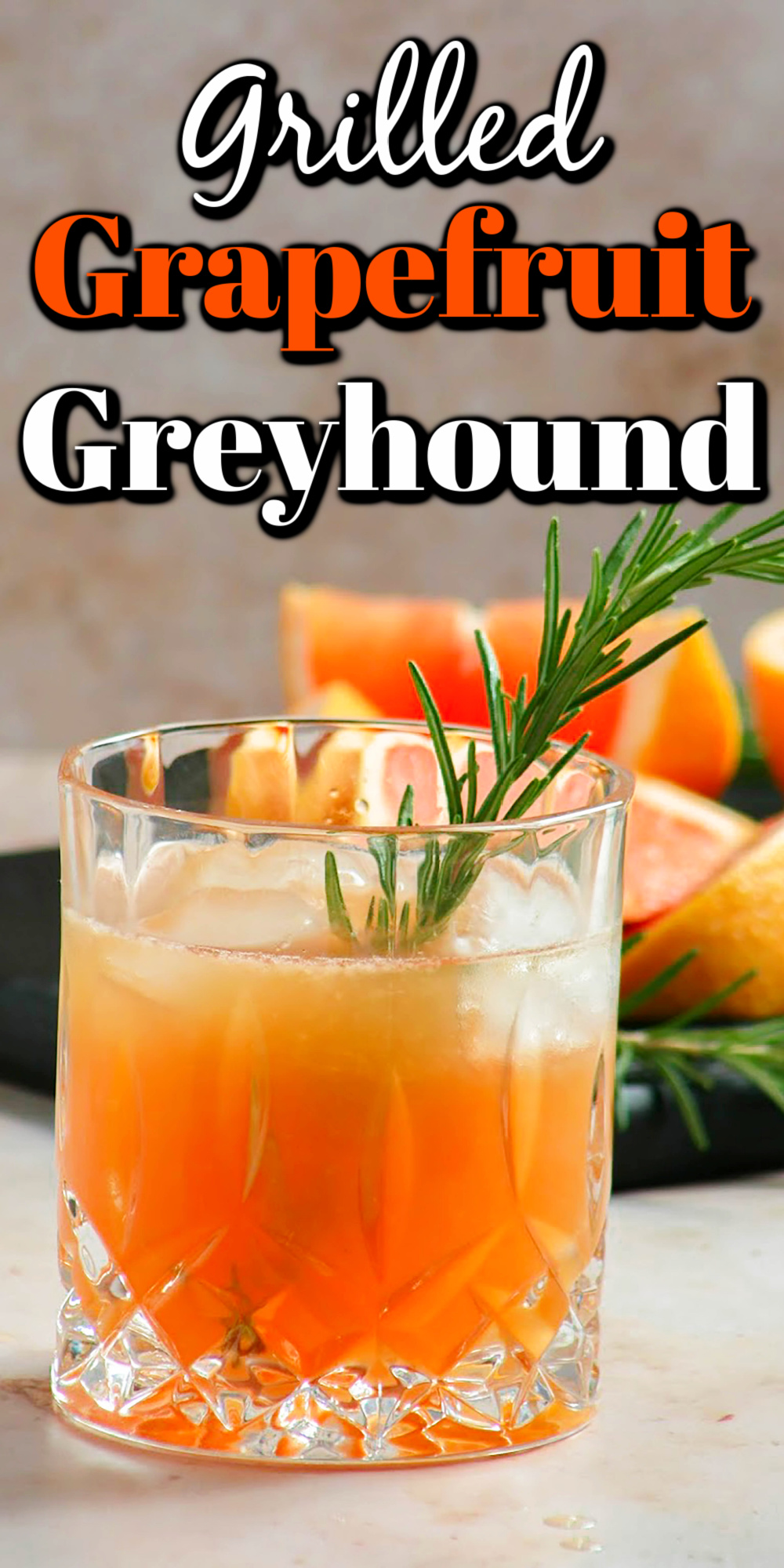 Super refreshing, tart, and just a little sweet. This Grilled Grapefruit Greyhound Cocktail is easy to make with simple ingredients.