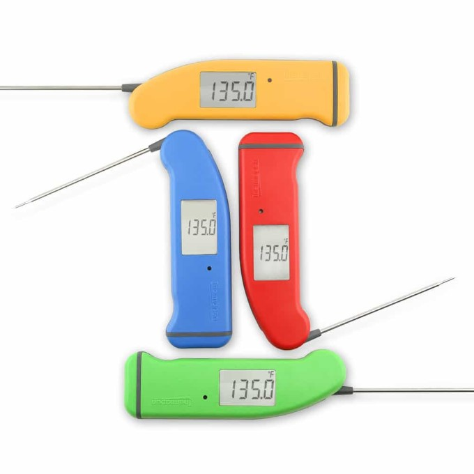 4 different colored Thermapen instant read thermometers.