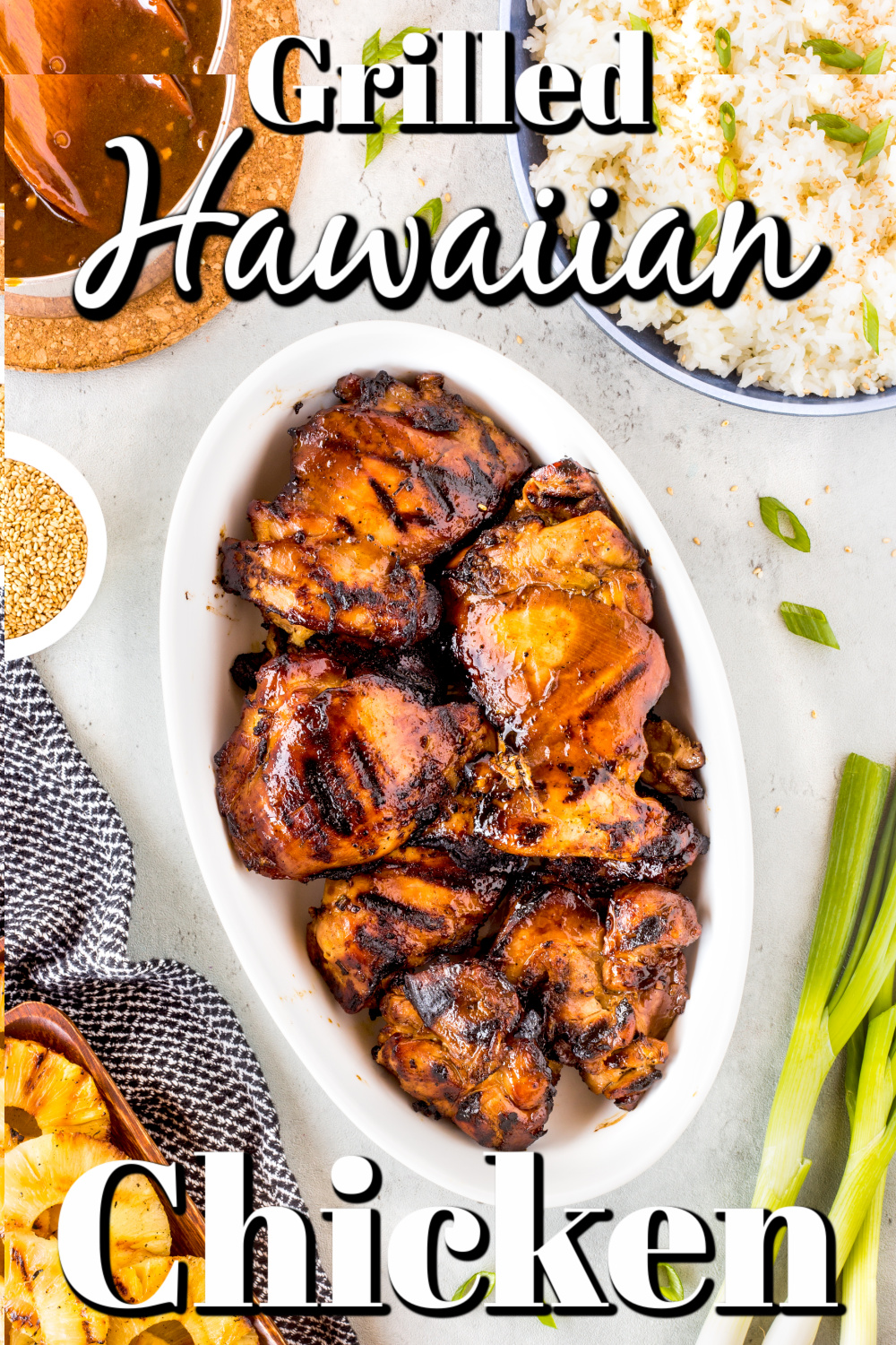 Imagine palm trees gently swaying in the cool ocean breeze. That's the feeling you will get when you serve this delicious grilled Hawaiian chicken!