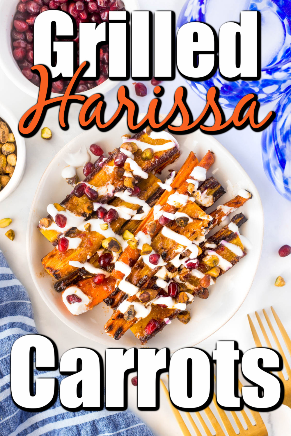 These Harissa Grilled Carrots have a sweet but spicy kick from the harissa glaze but a cool creamy flavor from the yogurt, and the grill adds so much to the flavor of too!